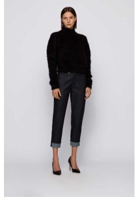 Hugo Boss jeans dame Straight crop blå stretch