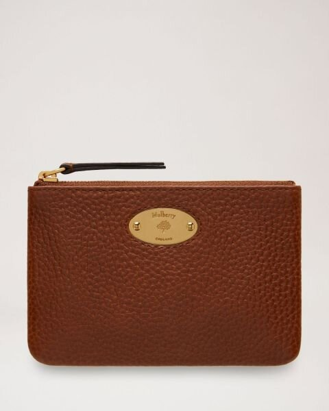 Mulberry pung Plaque Small Zip Coin Pouch Oak